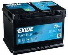 Аккумулятор EXIDE Start-Stop AGM EK700 - 70Ah 760A